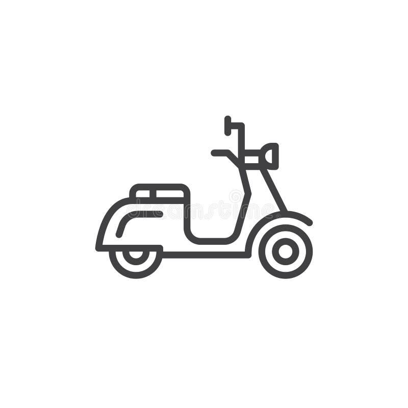 Sparkcykellinje symbol, översiktsvektortecken, linjär stilpictogram som isoleras på vit vektor illustrationer