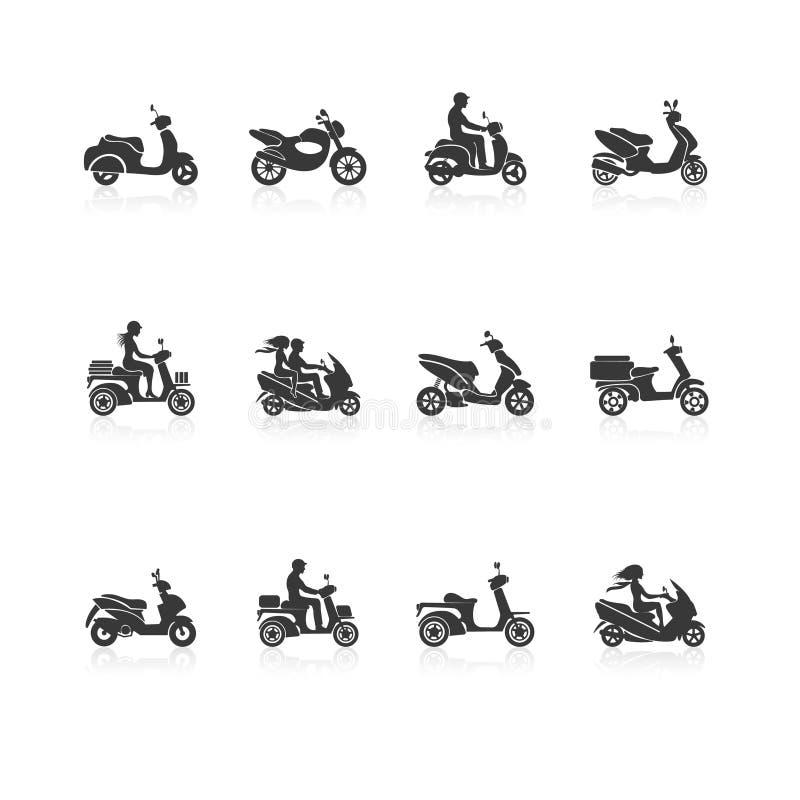Sparkcykelsymbolsuppsättning royaltyfri illustrationer