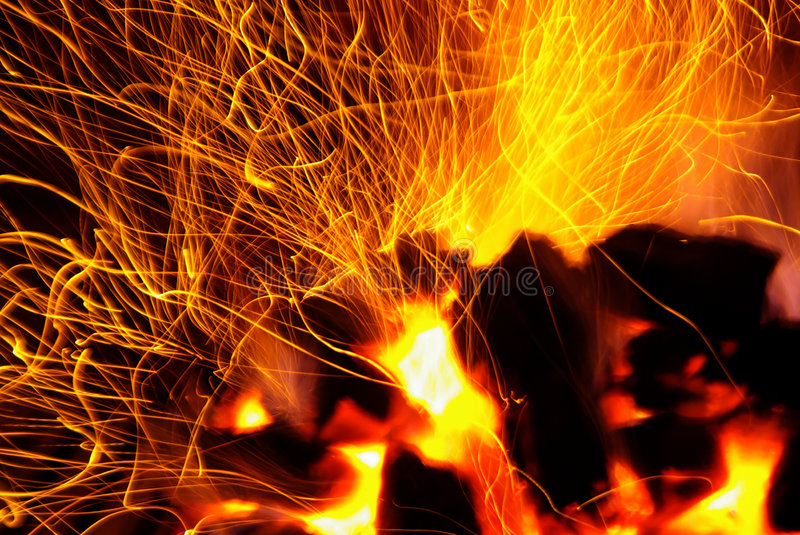 Download Sparking Coals stock photo. Image of ablaze, hellish, fire - 3174990