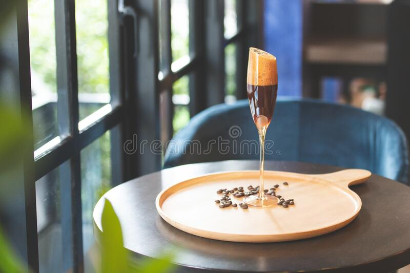 Sparking peach puree with coffee. stock images