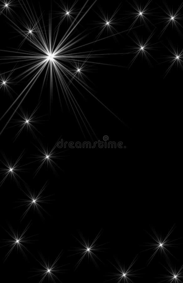 Sparking White Star Design on Black Background stock illustration