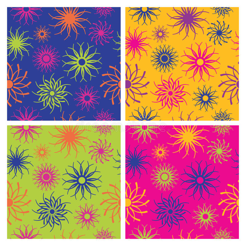 Sparkle Flower Pattern in Brights stock illustration