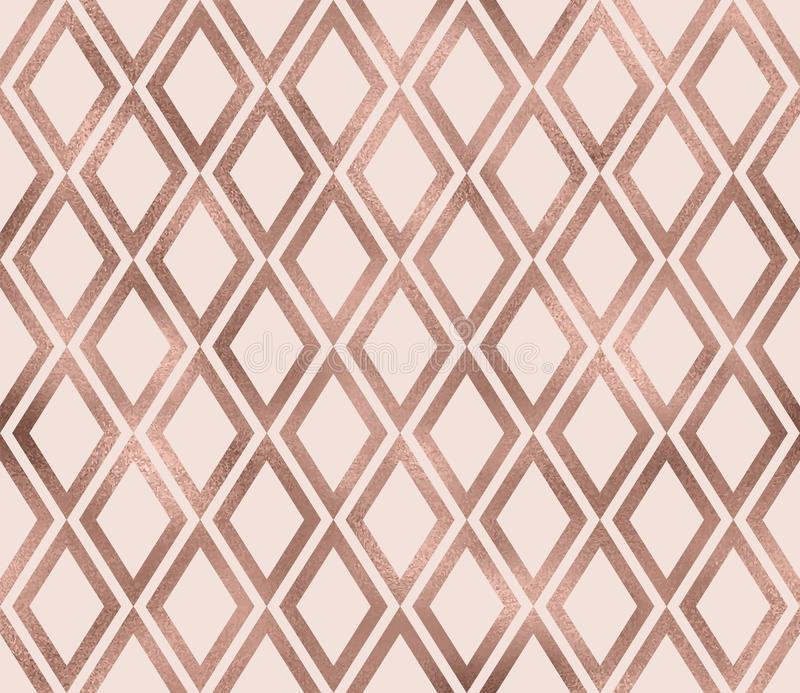 Sparkle Geometric Seamless Pattern With Rose Gold Foil Texture