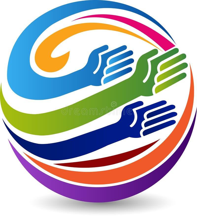 Globe hands logo stock illustration