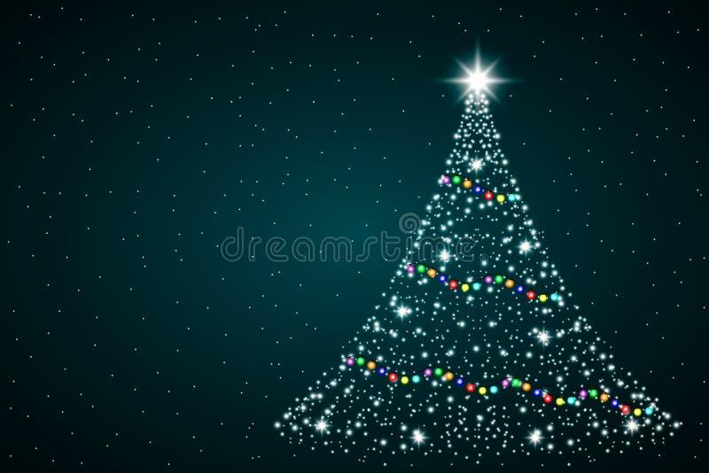 Sparkle Magie Weihnachtsbaumlicht Grußkarte Frohe Weihnachten und Glück Neues Jahr Vector-Illustration lizenzfreie abbildung