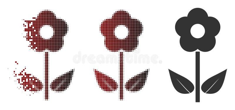 Sparkle Pixel Halftone Flower Plant Icon vector illustration