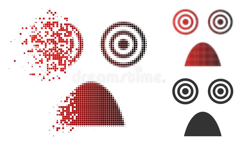 Sparkle Pixelated Halftone Horror Smiley Icon. Horror smiley icon in dispersed, pixelated halftone and undamaged solid variants. Pixels are grouped into vector stock illustration