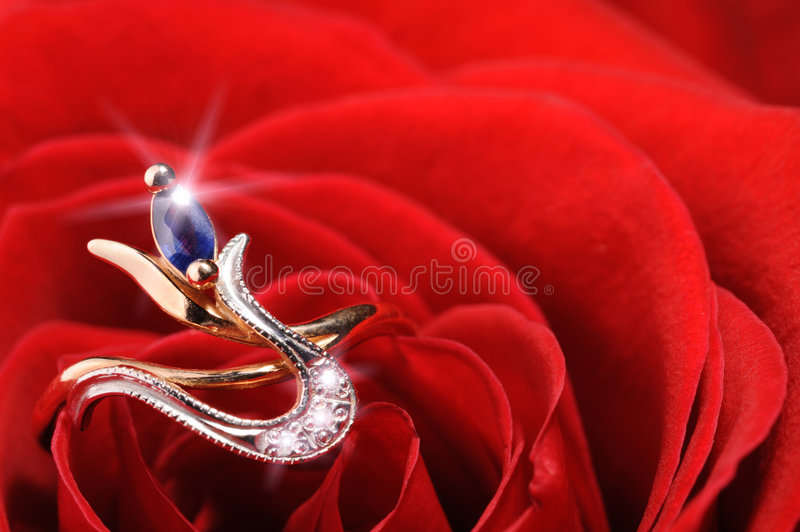 Sparkle ring in a red rose. Ring in a white rose. A jewelry on a blossoming bud of a flower stock image