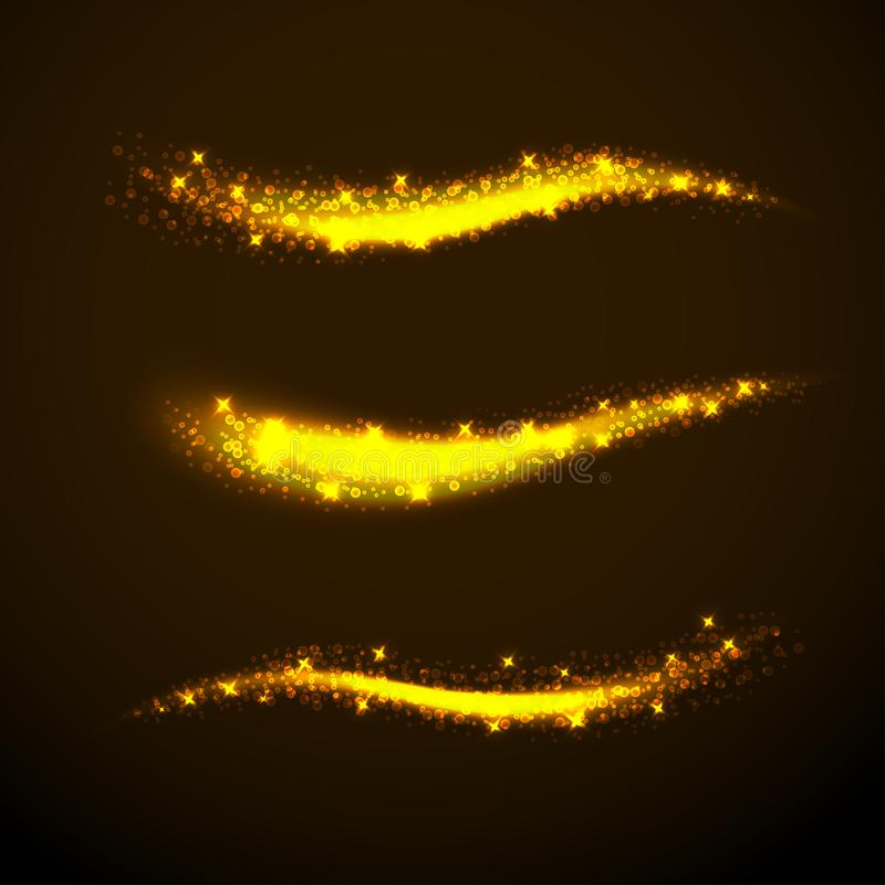 Sparkle stardust. Golden glittering magic waves with gold particles isolated on black background. Glitter bright trail. stock illustration