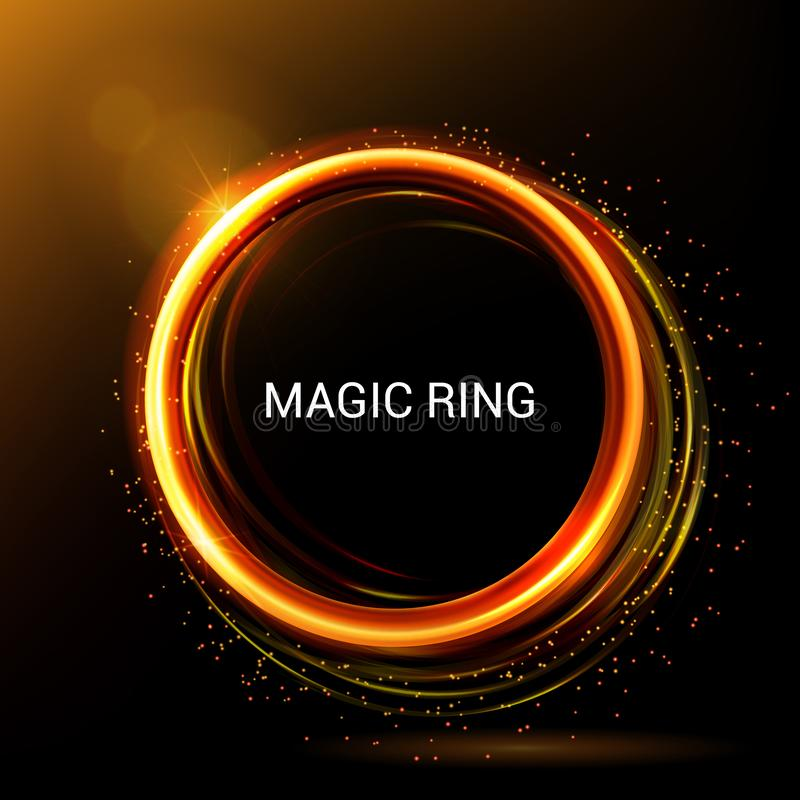 Gold circle light tracing. Vector. Light painting. Energy brilliant round frame. Magic lights and flashes, fire ring trace. royalty free illustration