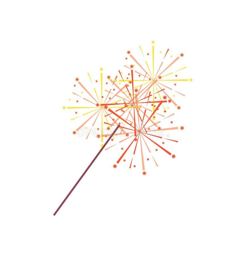 Sparkler ή ελαφρύ απομονωμένο εικονίδιο της Βεγγάλης διάνυσμα απεικόνιση αποθεμάτων