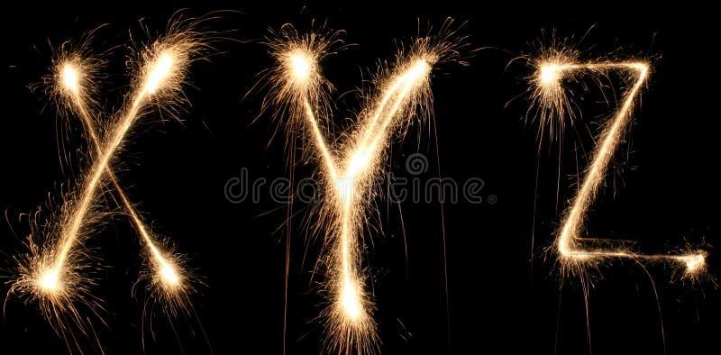 sparkler алфавита иллюстрация вектора