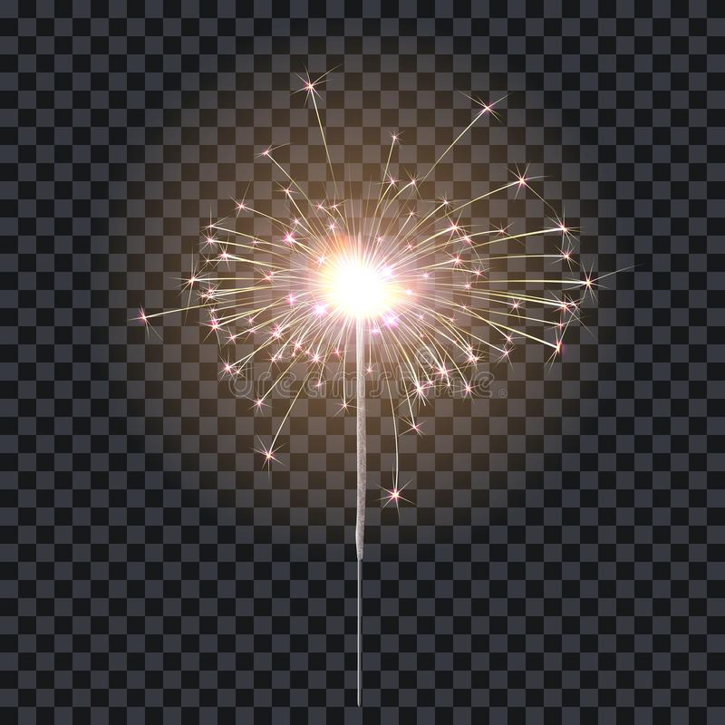 Sparkler or bengal fire lighting element festive decoration. Magic firework for holiday and birthday. Isolated on royalty free illustration