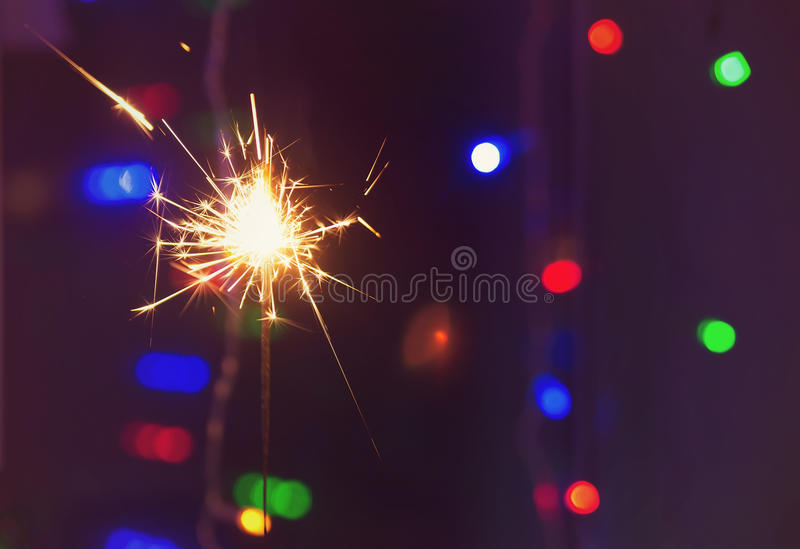 Sparkler. Bengal fire in party, celebrate. Birthday stock photos