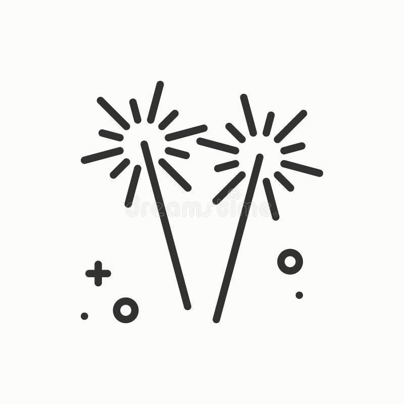 Sparkler, Bengal ogienia ikona Partyjnego świętowania wakacji wydarzenia urodzinowy karnawał świąteczny Cienkiego linii przyjęcia royalty ilustracja