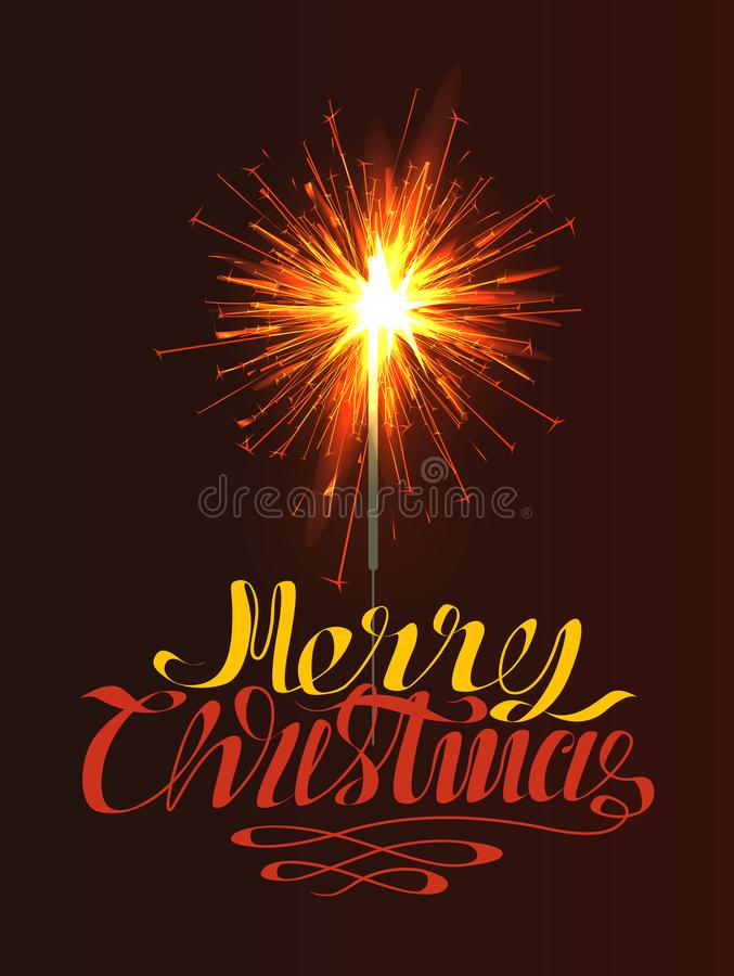 Sparkler with Burning Fire Isolated on Brown, Xmas vector illustration