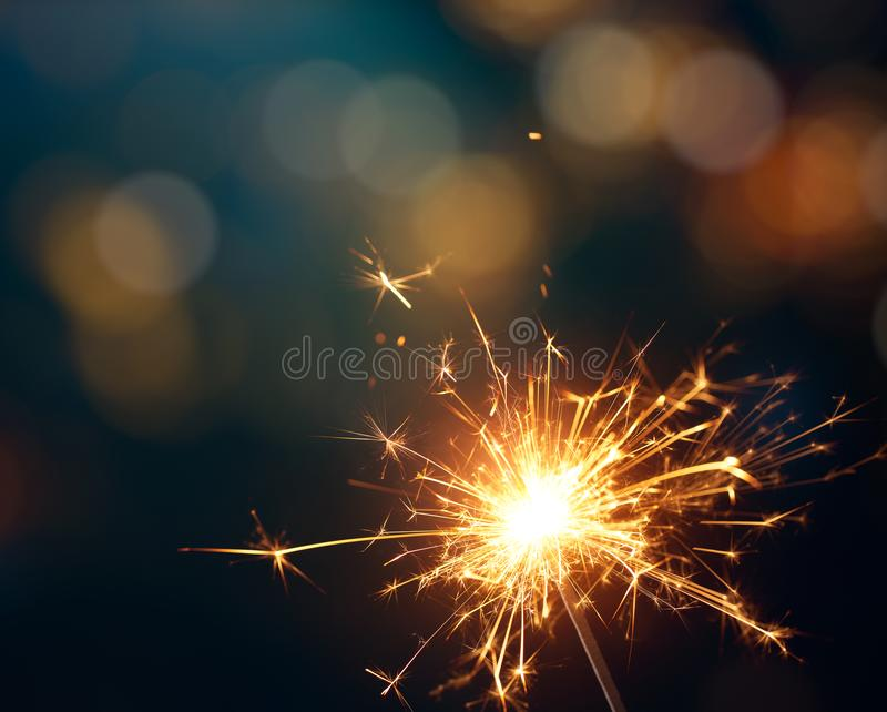 Sparkler - Chistmas, νέος εορτασμός έτους στοκ εικόνα