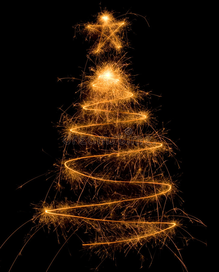 Free Sparkler Christmas Tree Royalty Free Stock Photography - 6882947
