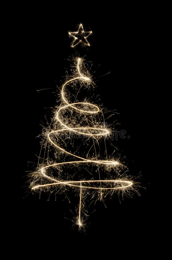 Sparkler Christmas tree in gold stock photography