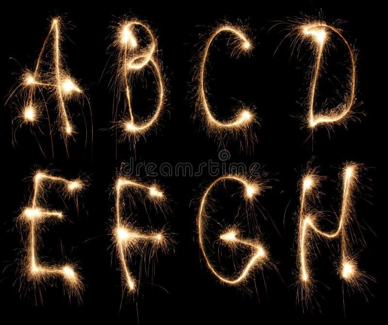 Sparkler d'alphabet photo stock