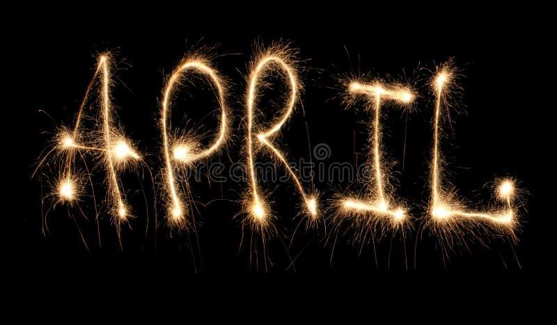 Sparkler de abril del mes fotografía de archivo