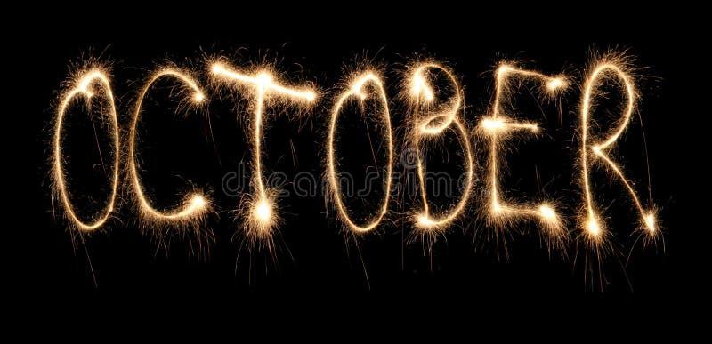 Sparkler de octubre del mes foto de archivo libre de regalías