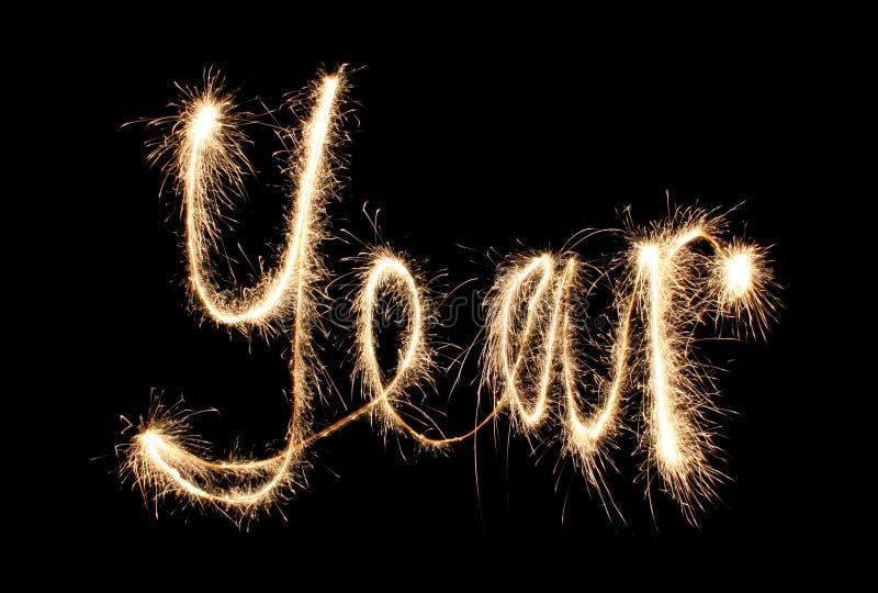 Sparkler del año foto de archivo libre de regalías