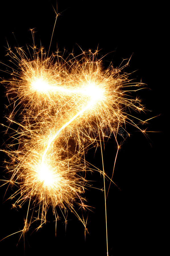 Free Sparkler Digit Against A Black Background Royalty Free Stock Photos - 7157388