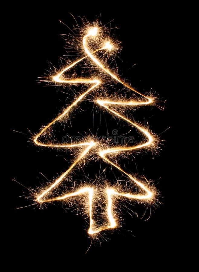 sparkler drzewo bożego narodzenia obraz stock