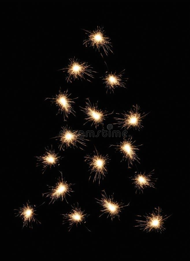 sparkler drzewo bożego narodzenia fotografia stock
