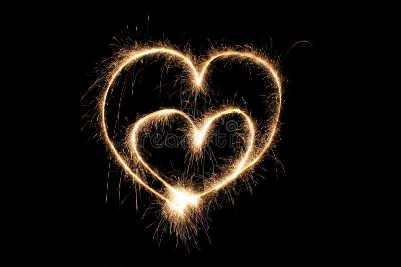 sparkler dwa serca zdjęcie stock