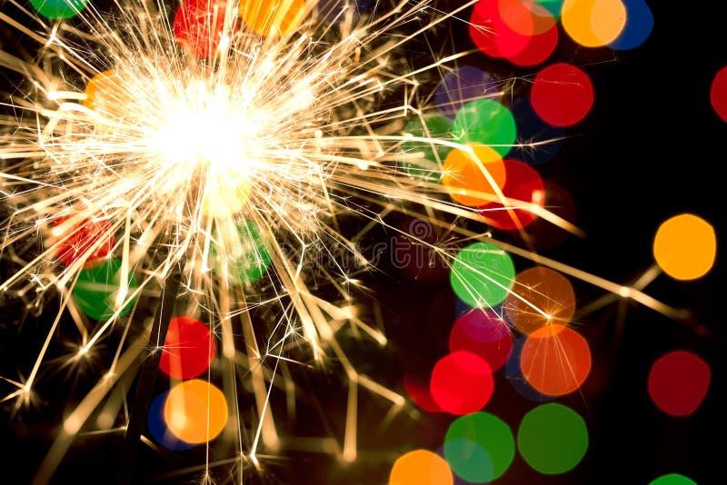 Sparkler e bokeh fotografia de stock
