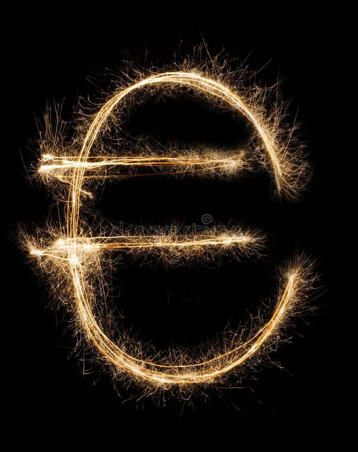 Sparkler euro na czarnym tle fotografia stock