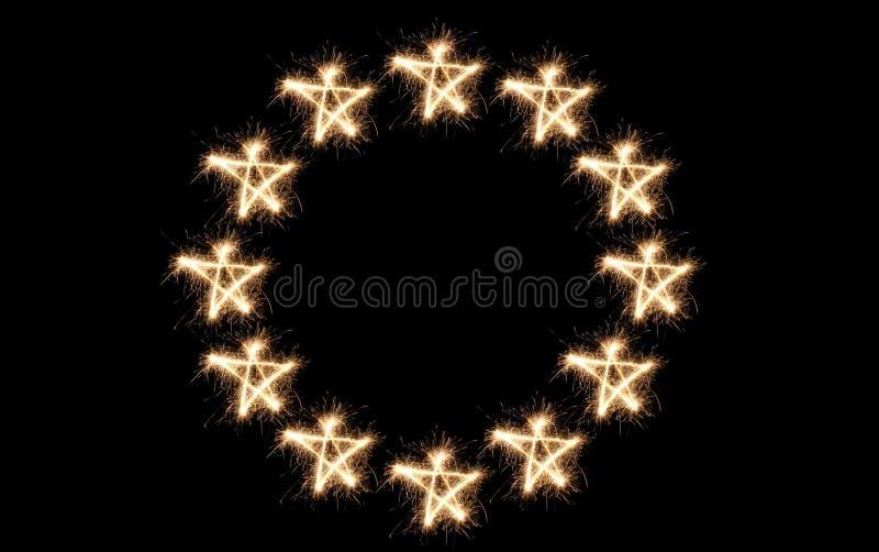 sparkler europejska bandery euro fotografia royalty free