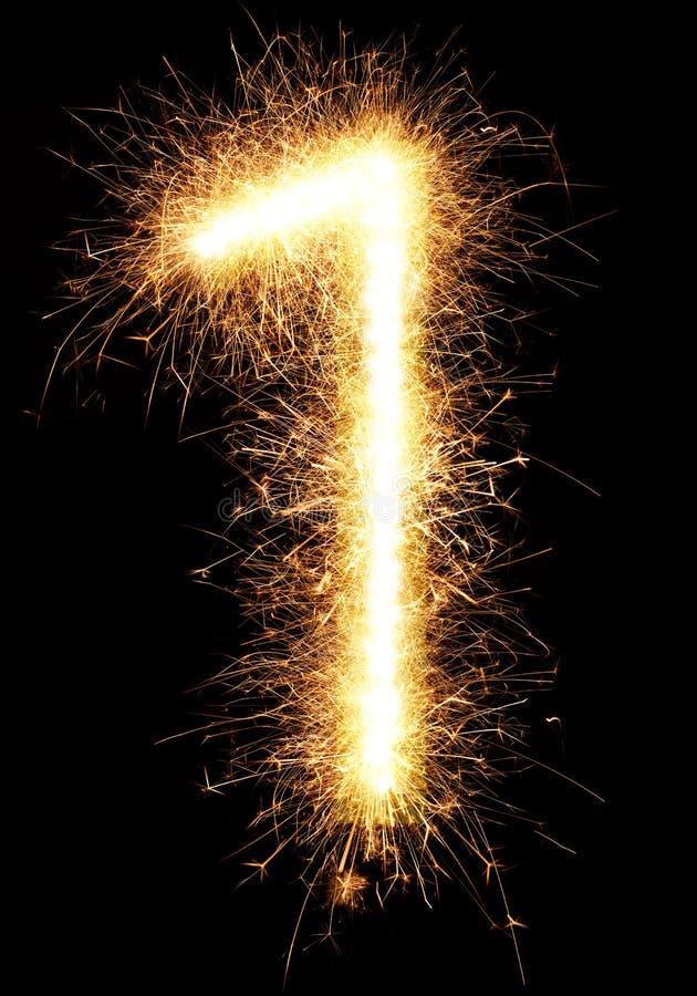 Sparkler fajerwerku światło liczba 1 odizolowywająca na czerni zdjęcia royalty free