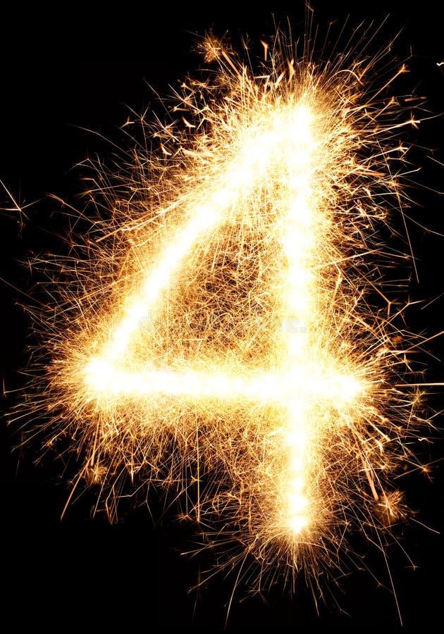 Sparkler fajerwerku światło liczba 1 odizolowywająca na czerni zdjęcie royalty free