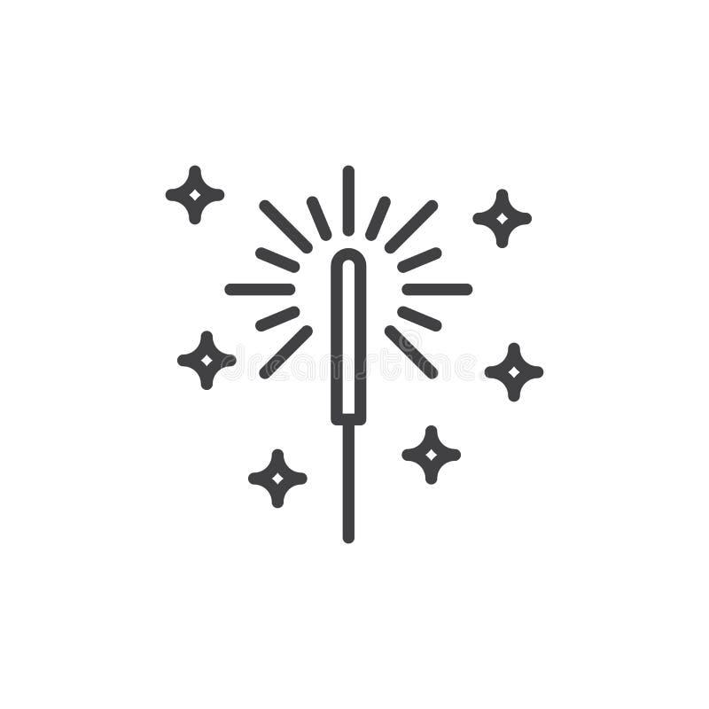 Sparkler fajerwerku linii ikona, konturu wektoru znak, liniowy stylowy piktogram odizolowywający na bielu royalty ilustracja