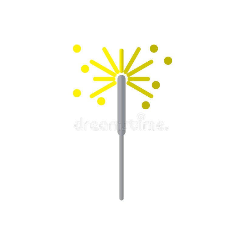 Sparkler fajerwerku płaska ikona, wypełniający wektoru znak, kolorowy piktogram odizolowywający na bielu royalty ilustracja