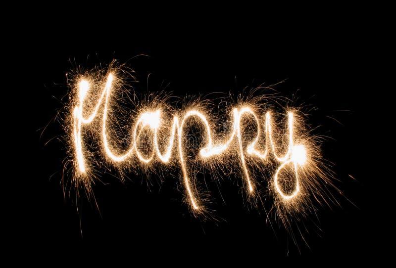 Sparkler feliz imagen de archivo libre de regalías