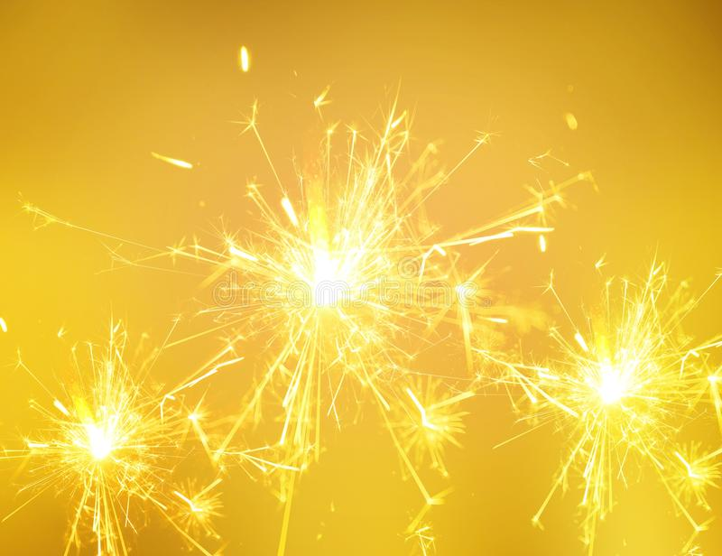 Sparkler fire. Festive New Year stock photography
