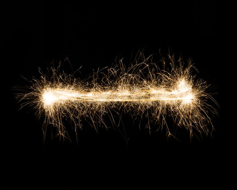 Sparkler firework light dash, hyphen or minus mark. Dash, hyphen or minus sign. Sparkler firework light alphabet punctuation mark, text symbol on black stock image