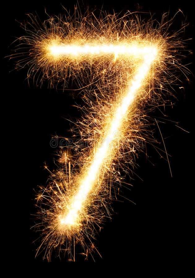 Free Sparkler Firework Light Number 7 Isolated On Black Stock Photography - 80531142