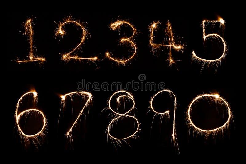 Sparkler firework light Number alphabet stock image