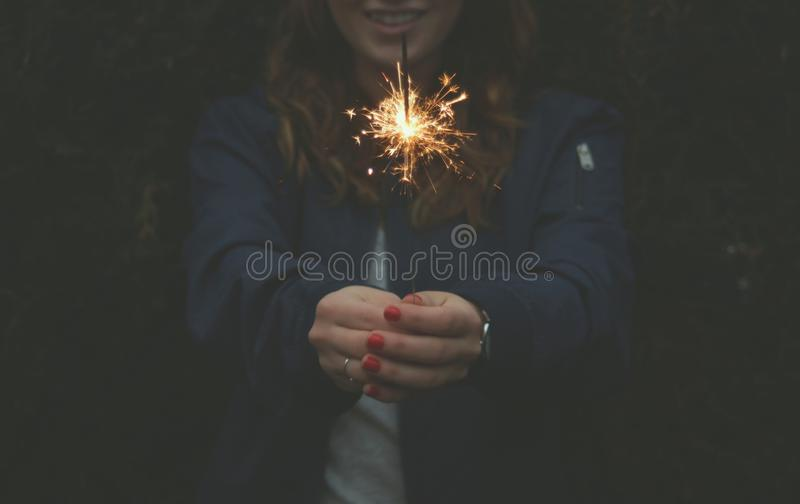 Sparkler Firewrok In Womans Hands Free Public Domain Cc0 Image