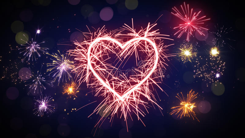 Sparkler heart shape and fireworks. Computer generated festive background royalty free illustration