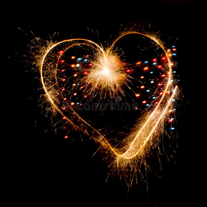 Sparkler heart on valentine`s day royalty free stock photo