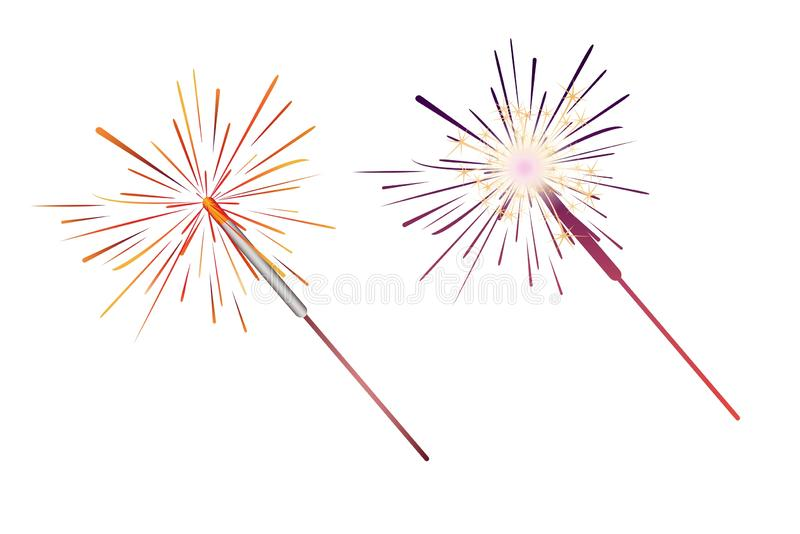 Sparkler icon set . Illustration design. Cartoon, bright, light, collection, happy, new, year, carnival, festival, birthday, anniversary, creative, object stock image