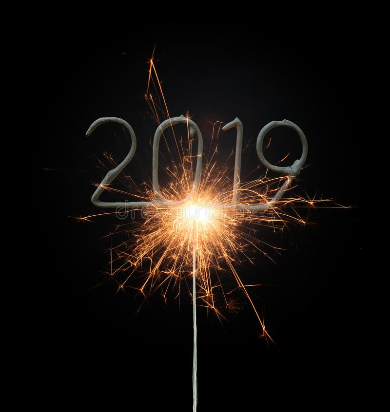 Sparkler isolated on black, 2019 royalty free stock image
