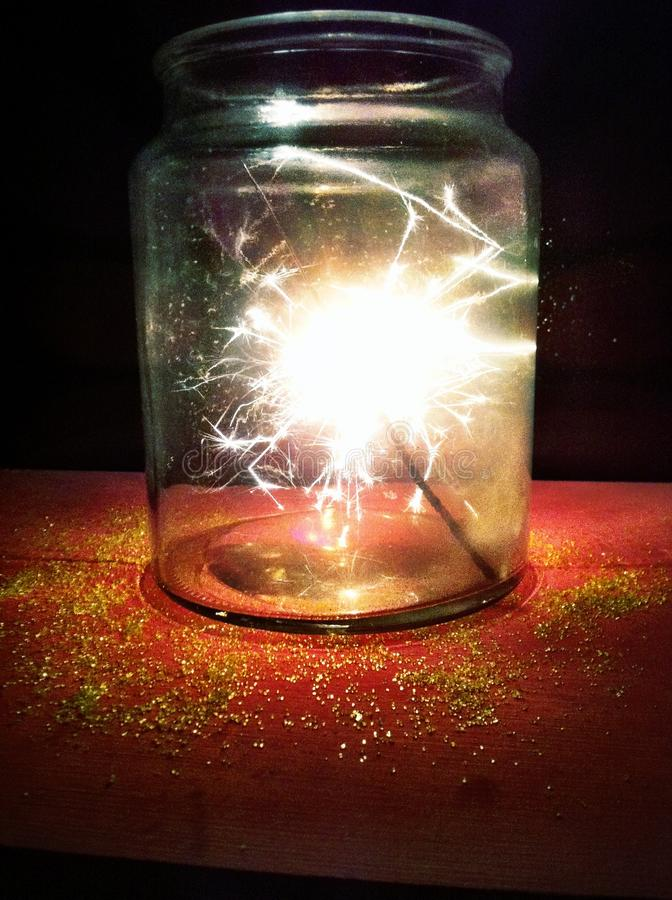 Sparkler in a jar stock photos