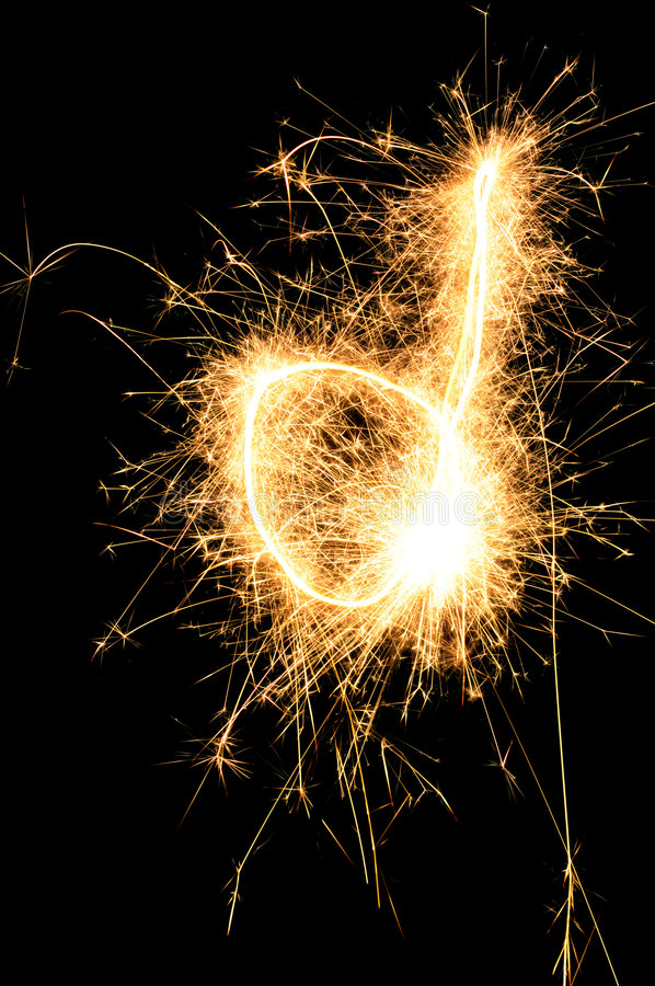 Sparkler letter of English alphabet. Sparkler letter D of English alphabet stock photo